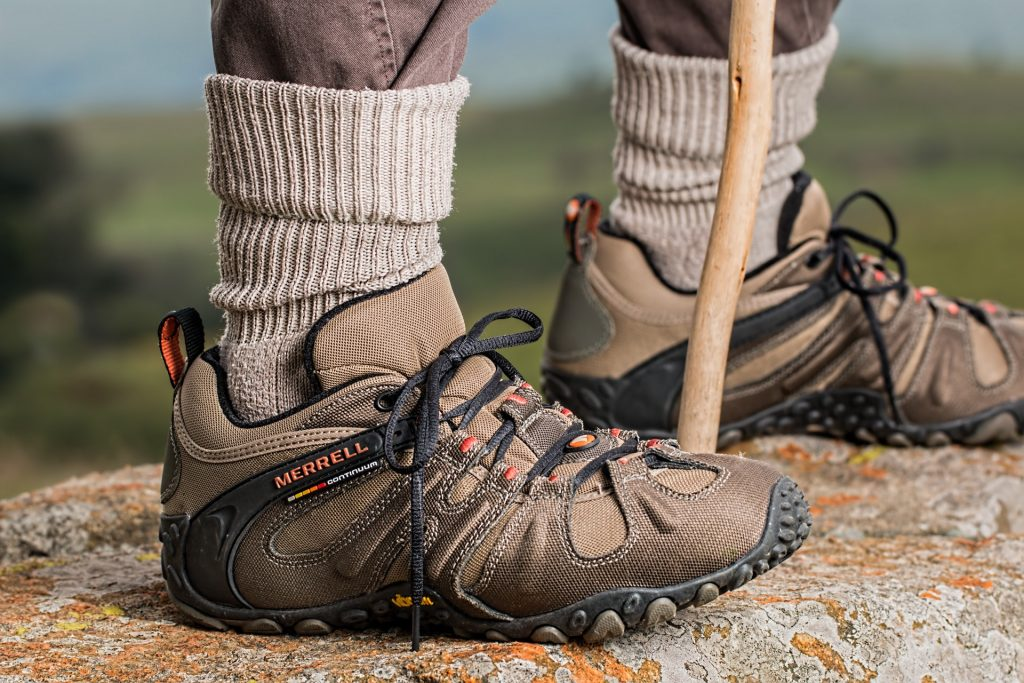Brown and gray hiking boots
