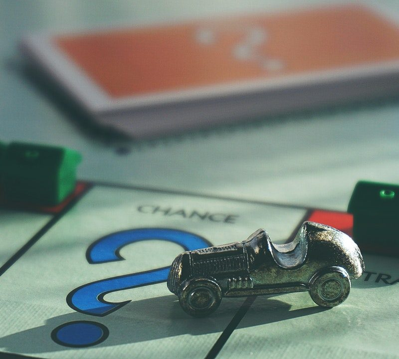 Monopoly car figure on the question mark